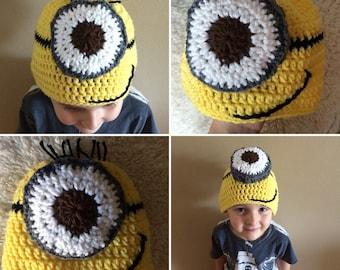 Crochet one eye beanie, cute crochet beanie, crochet hat