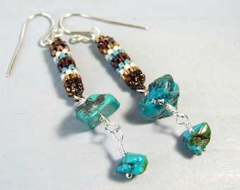 Genuine Turquoise Boho Earrings Beaded Dangle Earrings Unique Earrings Handmade Gemstone Jewelry Stone Earrings Sterling Silver Beadwork