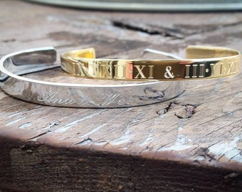 "Engraved 1/4"" Cuff, Personalized Bracelet, Bridesmaid Gifts"