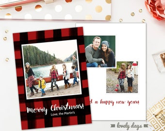 Christmas Card Template for Photographers Buffalo Check Plaid Instant Download