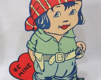 Vintage Large Paper Valentine Card Standup Girl Wearing Military Gear Made in USA