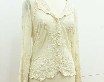 Vintage Cream Tulle Blouse by Sonya Ratay