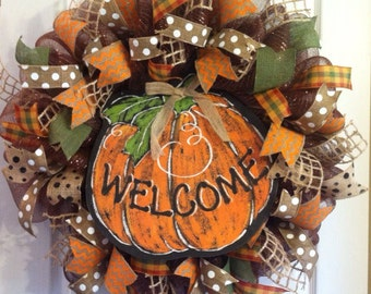 Fall Wreath/ Thanksgiving Wreath/ Harvest Wreath/ Thanksgiving Deco Mesh Wreath/ Pumpkin Wreath/ Fall Door Decor