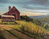 Red Barn By The Connnecticut River Framed Oil Painting