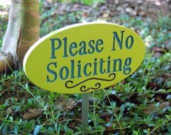 No Soliciting Garden Sign Lime Green With Blue Engraving Wood Sign