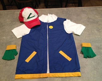 Boys 10/12    Ash Ketchum Pokemon Trainer Costume  - 3 pc POKEMON GO - cosplay