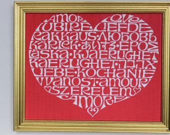 HEART LOVE PRINT .  ''The Heart Love'' Red print with 9'' X  11'' Gold frame