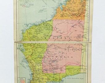 Western Australia Map, 1930's Map of Western Australia, old map of Australia, historical map, home decor, travel, office decor