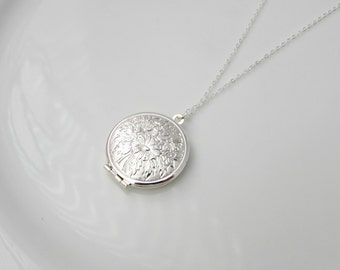 Silver Locket Necklace, Flower Locket Necklace, Locket Pendant, British Seller UK, Gift for Girls, Bridesmaid Gifts, Gifts for Bridesmaids