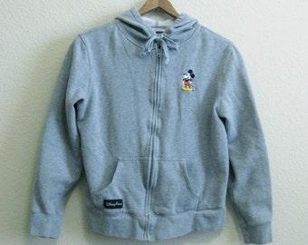 Authentic Disney Mickey Mouse Hoodie Gray - Small - Walt Disney World Sweatshirt