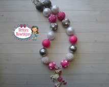 Girls Adorable Rhinestone White Horse Chunky Bubblegum Bead Necklace - Cowgirl, Rodeo, Birthday Party, Photo Props