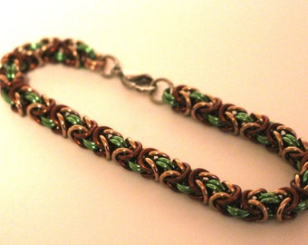 Green, Brown, and Champagne Anodized Aluminum Byzantine Chainmaille Bracelet