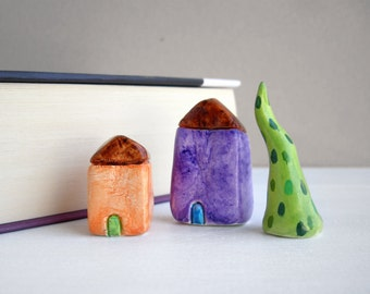 Little clay houses, miniature houses, tiny house, colorful home decor, quirky decor, purple, orange, housewarming gift, shelf decor, unique