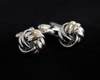 Groom's Cufflinks, Classic Cufflinks, Knot Twist Cuff Links, Groom Cufflinks, Silver Wedding Cufflinks, Wedding Jewelry, Men's Jewelry