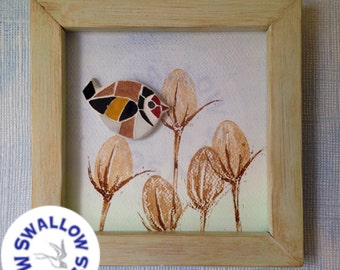 linocut printed teasel, mosaic goldfinch and handmade wooden frame