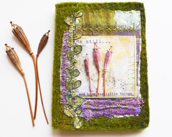 Needle Case, Mixed Media Collage, Paper and Fabric, Hand Stitched, Hand Felted
