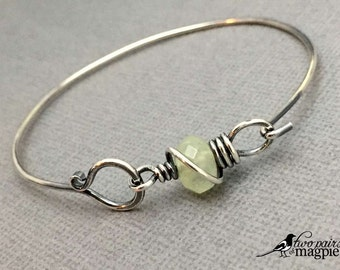 Natural Prehnite, Bracelet - great for stacking, ready to ship