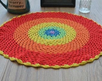 "16"" Round Crochet Rainbow Doily Table Runner"