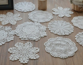 Lot 12 Hand Crochet White Doilies Cotton Snowflake Pineapple Floral Wedding Coasters