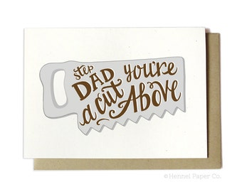 Stepdad Father's Day Card - Stepdad You're a Cut Above - Saw