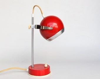Mid Century Modern Atomic Eyeball Desk / Table Lamp / Verner Panton Style Space Age Lighting / 70's Retro Decor / Red