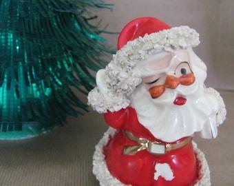 Vintage Christmas Planter, 1950's Lefton Santa Planter, Spaghetti Trim, Winking Santa Planter, Vintage Santa, Christmas Decor, Decoration