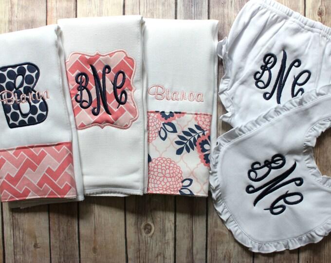 Baby Girl Gift Set, Monogrammed Baby Girl Gift, Baby Shower Gift, New Baby Girl Gift, Personalized Baby Girl, Custom Baby Gift, Pink Navy