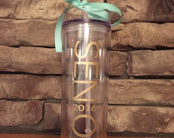Custom Senior 2016 Skinny Tumbler. Perfect Graduation Gift.