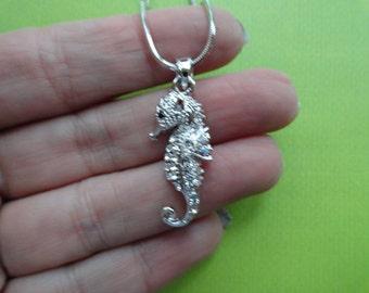 Seahorse crystal pendant necklace