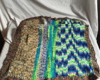 multicolor crocheted blanket