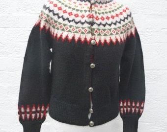 Black cardigan handmade knit small clothing 70s fashion ski city cardigan norwegian top black fairisle cardigan nordic wool soft gift jumper