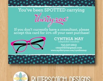 Thirty-One You've Been Spotted Navy Lotsa Dots Postcards - Printable/Digital File