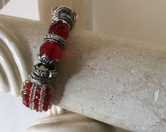Bracelet, Ruby red and silver