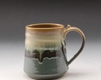 Handmade Pottery Mug Green and Grey Blue  Stoneware by Mark Hudak