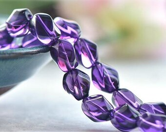 High Quality Cultured Amethyst Twist Beads 10x12mm NOT Dyed 15 Inch Strand AT56