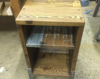 Bed Side Table from Reclaimed Fir & Antique Tin