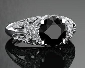 Natural Black Diamond Engagement Ring Black Diamond Ring 14k or 18k Black Gold VS1BKDW