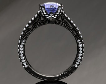 Tanzanite Engagement Ring Tanzanite Ring 14k or 18k Black Gold Matching Wedding Band Available SW9TANZBK