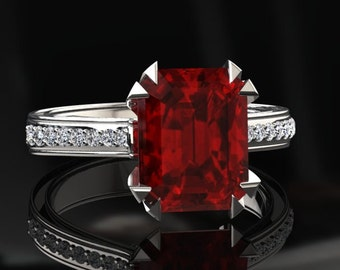 Ruby Engagement Ring 2.00 Carat Emerald Cut Ruby And Diamond Ring In 14k or 18k White Gold. Matching Wedding Band Available W13RUBYW
