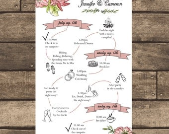 Printable PDF Hand Drawn Floral Wedding Itinerary ONLY