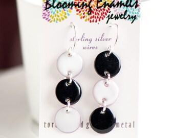 Black and White Dangle Earrings, Copper Enamel, Unique Sterling Silver Ear Wires, Modern Earrings, Funky Earrings, Black and White Jewelry