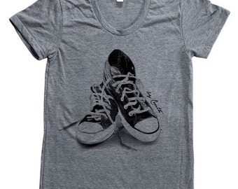SUMMER SALE Womens Sneakers T Shirt Custom Hand Screen Printed American Apparel Tri-Blend Short Sleeve Available: S, M, L, Xl