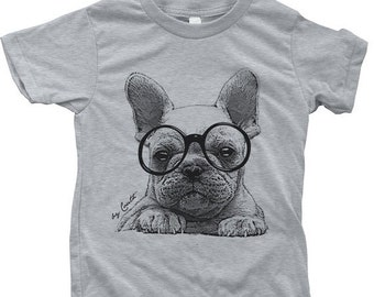 SUMMER SALE French Bulldog Kids Tshirt  Custom Hand Screen Printed American Apparel Crew Neck Available Size 2-12