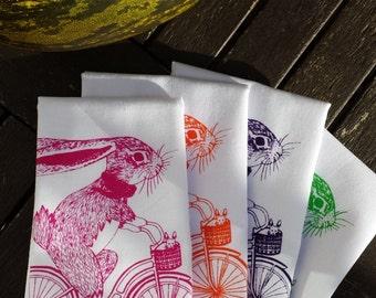 Screen Printed Napkin - Bunny on Bike -  100% Cotton- Handmade  -Eco Friendly Cotton Napkin