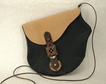 350 Steampunk Saddle Bag Industrial Recycled Leather Travel Passport
