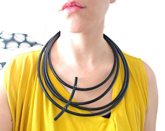 Black statement necklace - Multi Strand Necklaces - Contemporary jewelry - Asymmetric jewelry - African jewelry - Modern necklace.