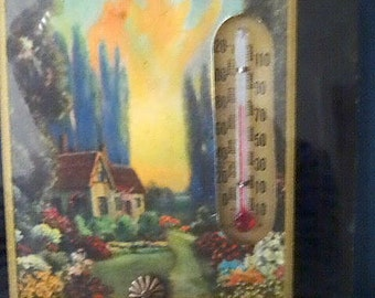 Vintage Wall Thermometer Cottage Scene Reverse Paint Advertising GiveAway Nevada
