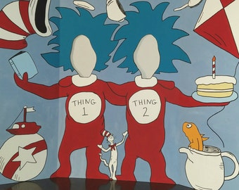 DISCOUNTED & READY 2 SHIP! Dr. Seuss - Cat In The Hat - Thing 1 and 2 - Hand Drawn and Painted Photo Op Display / Cutout Board!