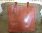 SUMMER SALE Genuine vintage large tan leather shoulder bag with long straps shopper