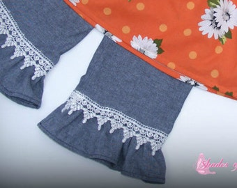 Girls Toddlers Infants chambray pants or capris with lace and ruffle